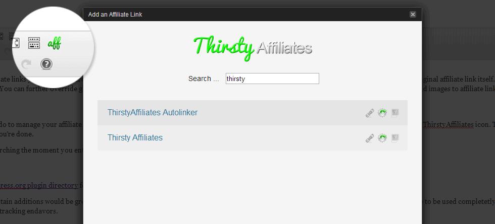 ThirstyAffiliates insert affiliate link