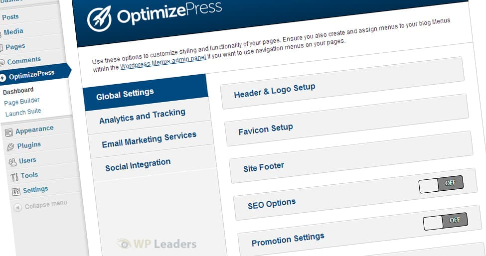 OptimizePress dashboard