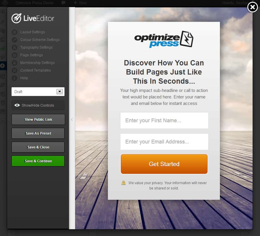OptimizePress Live Editor