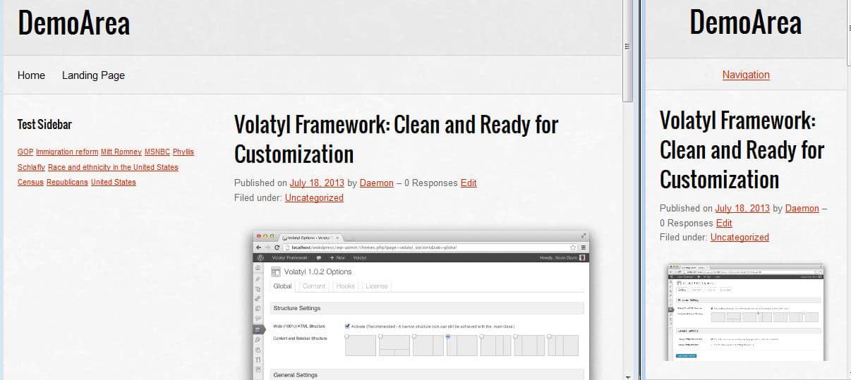 volatyl responsive wordpress framework