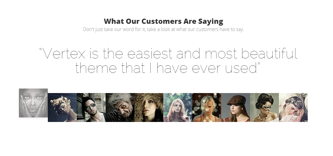 Elegant Themes' Vertex Theme has beautiful testimonials