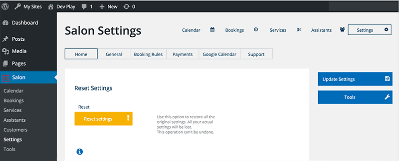 WP Salon Booking Plugin Settings Page