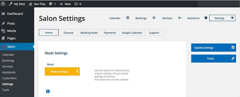 WP Salon Booking Plugin Settings Page