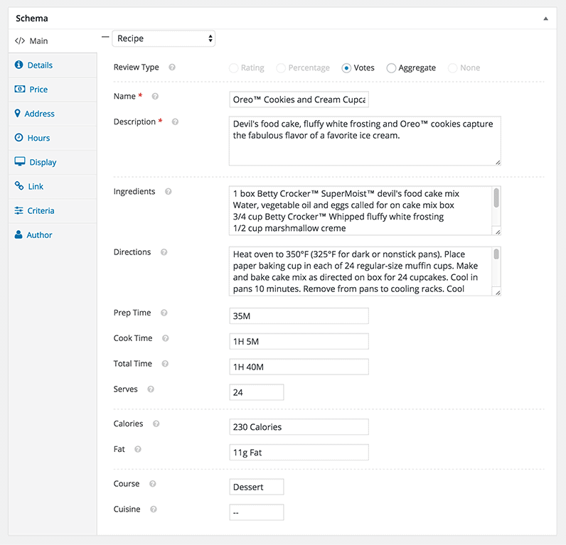 schema recipe post meta box