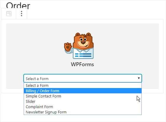 WPForms Billing/Order Form