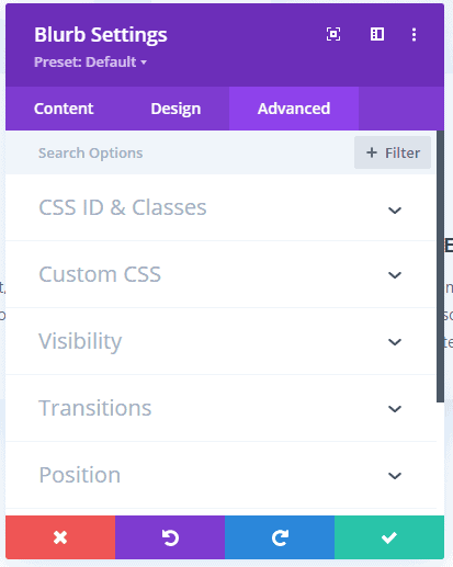 Divi - Advanced Tab