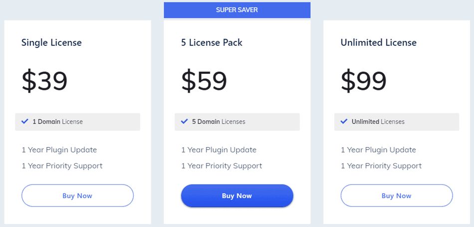 WP Page Builder - Pricing